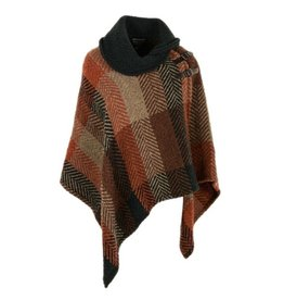 CAPES & RUANAS BRANIGAN SHAWL COLLAR PONCHO - Multi Rust
