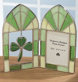 FRAMES ARCHED SHAMROCH STAINED GLASS FRAME