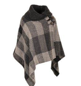CAPES & RUANAS BRANIGAN SHAWL COLLAR PONCHO - Grey Multi Stripe
