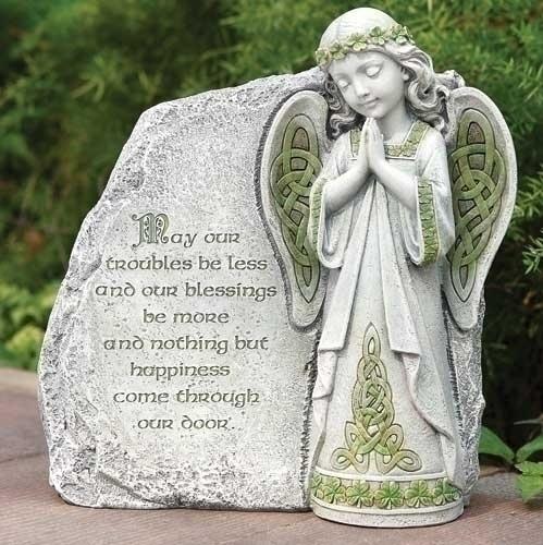 GARDEN IRISH ANGEL GARDEN STONE with BLESSING