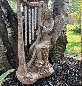 GARDEN ANGEL GARDEN STATUE with HARP WIND CHIME
