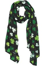 ST PATRICK'S DAY NOVELTY BLACK & GREEN SHAMROCK SCARF