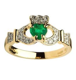 RINGS SHANORE EMPRESS 14K DIAMOND & EMERALD CLADDAGH