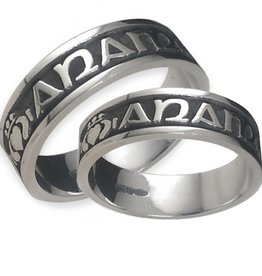 RINGS BORU STERLING GENTS MO ANAM CARA OXIDIZED RING