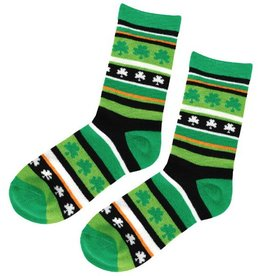ST PATRICK'S DAY NOVELTY SHAMROCK STRIPE CREW SOCKS