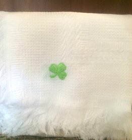 BABY BLANKETS BABY BLANKET - GREEN or WHITE SHAMROCK