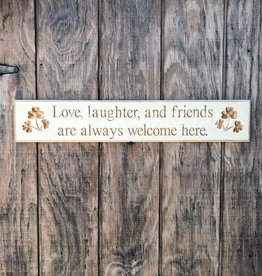 """PLAQUES, SIGNS & POSTERS """"LOVE, LAUGHTER, AND FRIENDS..."""" CARVED WOOD SIGN"""