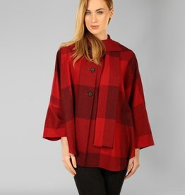 CAPES & RUANAS CLEARANCE - TRIONA TWEED SHORT CAPE - RED CHECK SQUARE - FINAL SALE