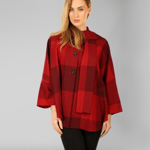 CAPES & RUANAS TRIONA TWEED SHORT CAPE - RED CHECK SQUARE