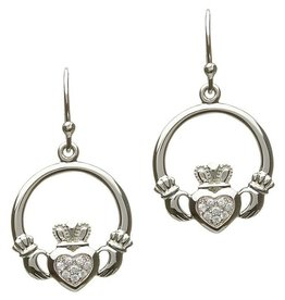 EARRINGS CLEARANCE - SHANORE STERLING PAVE CZ CLADDAGH EARRINGS - FINAL SALE