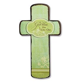 BABY RELIGIOUS GOD BLESS THIS WEE ONE CROSS