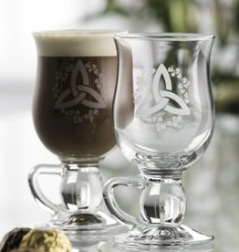 BARWARE GALWAY CRYSTAL IRISH COFFEE GLASSES - TRINITY w/ SHAM (2)