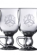 "BARWARE GALWAY CRYSTAL ""TRINITY & SHAMROCK"" COFFEE GLASSES (2)"
