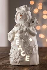 "SNOWMEN BELLEEK LIVING ""PEACE"" SNOWMAN VOTIVE"