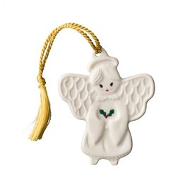 ORNAMENTS BELLEEK ANGEL with HOLLY FLAT ORNAMENT