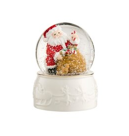 HOLIDAY BELLEEK LIVING SANTA SNOWGLOBE