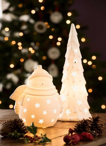 SNOWMEN BELLEEK LIVING SNOWMAN with SCARF LUMINAIRE