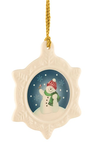 ORNAMENTS BELLEEK SNOWMAN SNOWFLAKE ORNAMENT