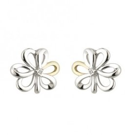 EARRINGS SOLVAR STERLING & 10K SHAMROCK EARRINGS with DIAMOND