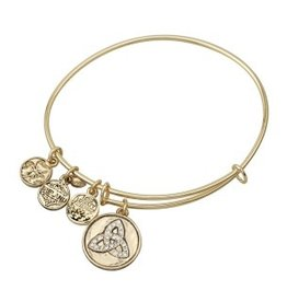 BRACELETS & BANGLES CLEARANCE - SOLVAR GOLD TONE CZ TRINITY CHARM BANGLE - FINAL SALE