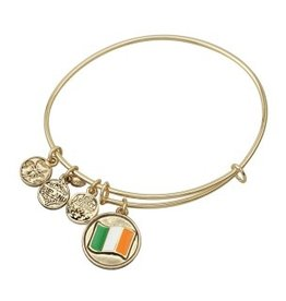 BRACELETS & BANGLES CLEARANCE - SOLVAR GOLD TONE 'FLAG' CHARM BANGLE - FINAL SALE