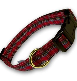 COLLARS & LEASHES CLEARANCE - RED TARTAN COLLAR - FINAL SALE