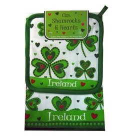 KITCHEN & ACCESSORIES SHAMROCK & HEART TEA TOWEL & POT HOLDER