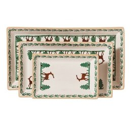 HOLIDAY NICHOLAS MOSSE 3 RECTANGLE NESTING DISHES - REINDEER