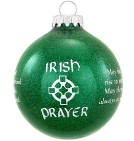 ORNAMENTS IRISH PRAYER SPARKLE GLASS ORNAMENT