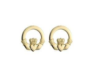 14k Claddagh Post Earrings