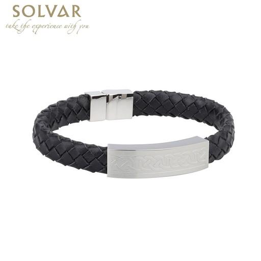 Solvar Celtic Man Stainless Amp Blk Leather Bracelet Irish