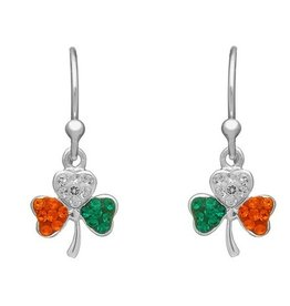 EARRINGS AMETHYST DUBLIN -STERLING SHAMROCK EARRINGS with TRI-COLOR STONES