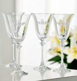 BARWARE GALWAY CRYSTAL LIBERTY GOBLETS - ETCHED (4)