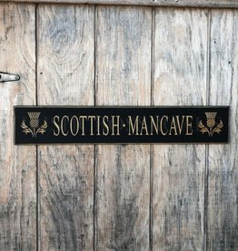 """PLAQUES & GIFTS """"SCOTTISH MAN CAVE"""" CARVED WOOD SIGN"""