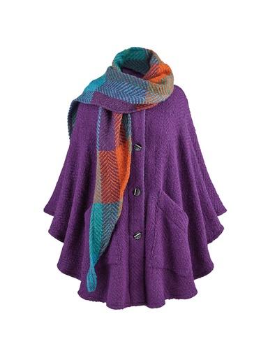 CAPES & RUANAS BRANIGAN WEAVERS TINA CAPE - Mulberry Purple