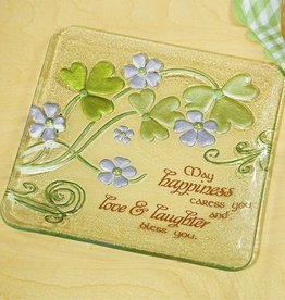 DECOR GLASS SHAMROCK PLATE