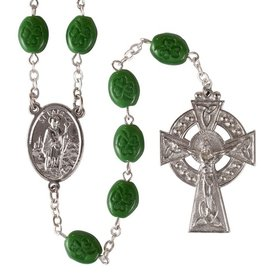 ROSARIES & JEWELRY GREEN SHAMROCK ROSARY with CELTIC CROSS