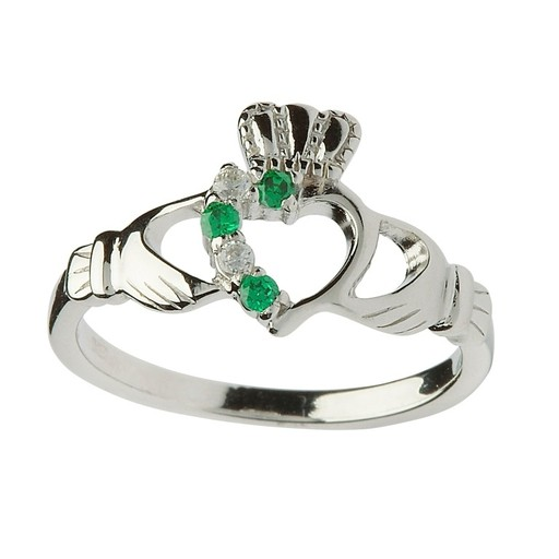 RINGS SHANORE HALF STONE SET STERLING CLADDAGH RING with GREEN & WHITE CZs
