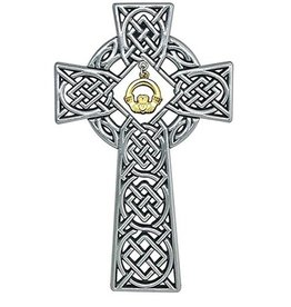 RELIGIOUS CELTIC KNOT WALL CROSS with CLADDAGH