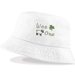 """BABY ACCESSORIES """"WEE ONE"""" BUCKET HAT WITH SHAMROCK"""