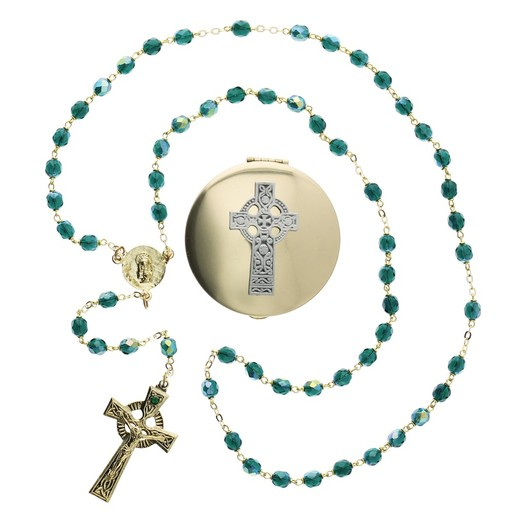 ROSARIES & JEWELRY CELTIC ROSARY with CROSS BOX SET