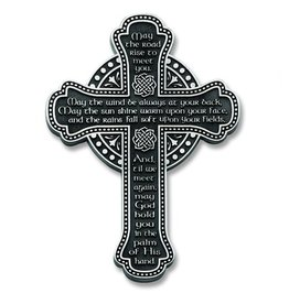 "CROSSES MAY THE ROAD RISE 5.5"" PEWTER WALL CROSS"