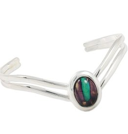 BRACELETS & BANGLES HEATHERGEM V-SHAPED PLATED BANGLE