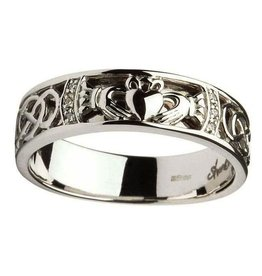 RINGS SHANORE GENTS CLADDAGH & CELTIC KNOT DIAMOND SET WEDDING RING