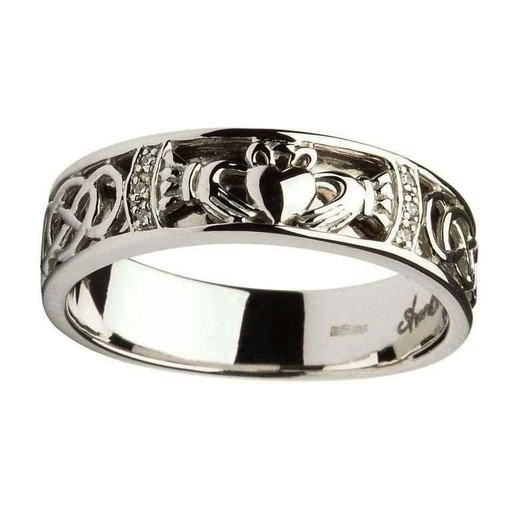 Celtic Knot Wedding Bands.Shanore Gents Claddagh Celtic Knot Diamond Set Wedding Ring
