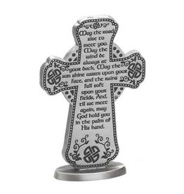 """CROSSES MAY THE ROAD RISE 3"""" PEWTER CROSS"""