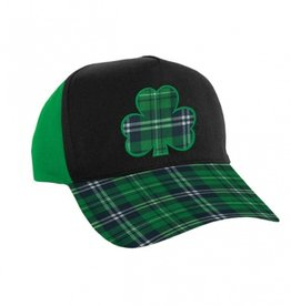 ST PATRICK'S DAY NOVELTY PLAID SHAMROCK BALL CAP