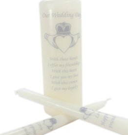 WEDDING ACCESSORIES CLADDAGH UNITY CANDLE SET - Silver