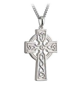 CELTIC CROSSES SOLVAR STERLING DOUBLE SIDED TRINITY CROSS