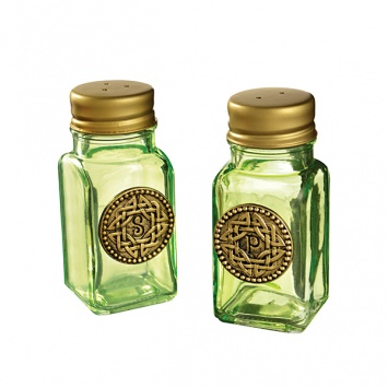 KITCHEN & ACCESSORIES GLASS CELTIC SALT & PEPPER SET